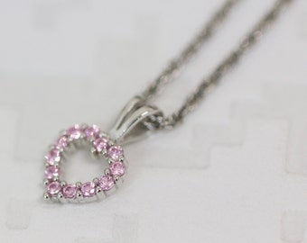 Sterling Silver Pink Heart Pendant, Pink CZ pendant, Pink Heart Necklace With FREE Sterling Silver Chain