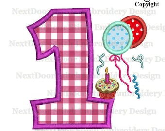 My first birthday embroidery applique design, 1st machine cake balloon party file download, birth-006-1