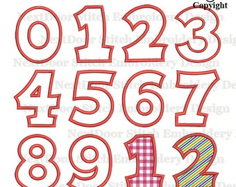 Embroidery Applique Numbers set 0-9, Machine Embroidery Design Font, BX files included, nbr-002-0-9