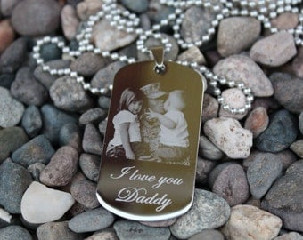 Personalize Custom Photo Engrave Dog Tag High Polished Stainless Steel Pendant