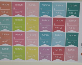 Tuition Flag Planner Stickers | Rainbow Sherbet | all planners | L238