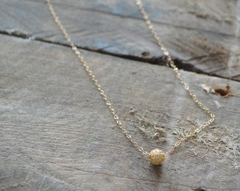 5 mm gold filled ball necklace, 18 inch chain, 14 karat gold filled, simple gold ball necklace, bridesmaid gift, bridesmaid necklaces