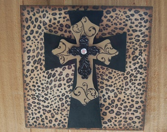 """Layered Crosses on Leopard Print/Wall Hanger/Religious Gift/Home Decor/12"""" x 12"""" Blacks and Browns(26)"""