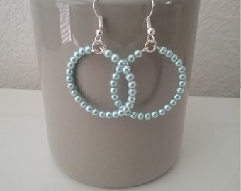 Pearl Blue Bead Hoop Earrings