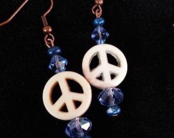 Rhapsody in Blue  Peace earrings