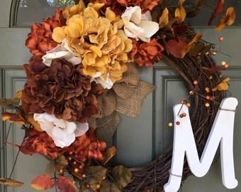 Monogrammed Fall Autumn grapevine door wreath with hydrangeas and leaves, fall wreath, hydrangea wreath, front door wreath