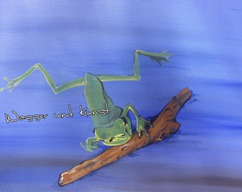 LITTLE frog quite large on canvas, acrylic
