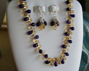 Amethyst & Citrine beaded necklace and Earring set  -  #246