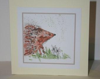 Hedgehog greetings card, blank card, greetings card, birthday card, hedgehog card, note card, thank you card, hedgehog, wildlife card
