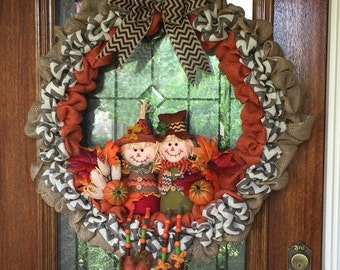 Scarecrow Wreath. Fall wreath. Autumn wreath. Thanksgiving wreath.