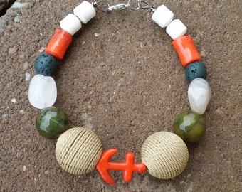 Orange Anchor Bracelet