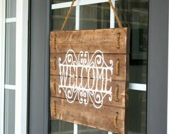 Porch Sign- Front Door Decor- Front Door Sign- Welcome Sign- Welcome Sign for Front Door- Wood Door Hanger- Wood Door Decor- Wood Door Sign