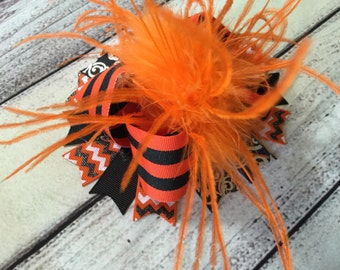 Halloween Over The Top Hair Bow, Orange Black Halloween Over The Top Hair Bow Baby Halloween Hair Bow, Halloween Baby Over The Top