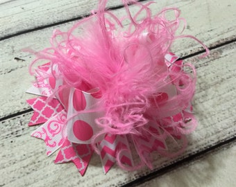 Pink /White  Over The Top Hair Bow, Girls Hair Bow, Over The Top Hair Bows, Baby Headband ,OTT Hair Bow , Large Hair Bow