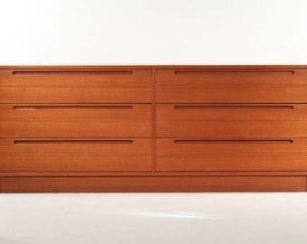 Long Six-Drawer Danish Teak Dresser