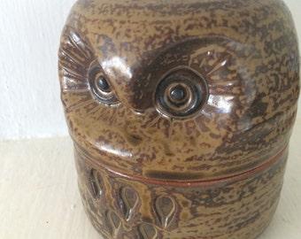 Owl 2-part ceramic container - 1979