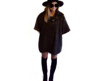 Vintage Leopard Big Button Mod Jacket Size S