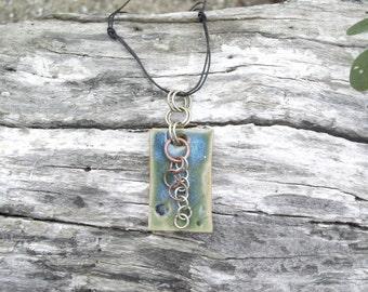 Ceramic pendant, Jewelry, Sculptural Jewelry, Ceramic jewelry, Copper Jewelry, Abstract jewelry