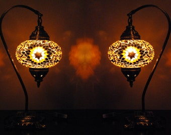 Goreme Gold - Handmade Turkish Lantern Table Lamp Pair