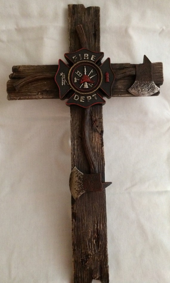 Cross Firefighter Wall Decor Inspirational By Burlesongiftshop
