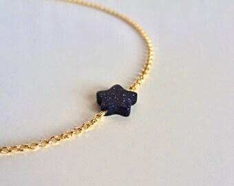 Blue goldstone star necklace / 14K gold vermeil chain / Blue sandstone necklace / Delicate gold necklace / Chain Choker necklace