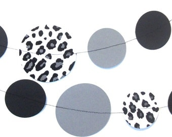 Black/Gray/White Leopard Hanging Garland - 10 FT