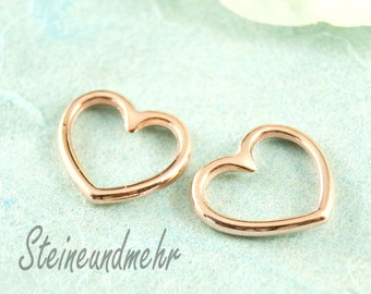 3x heart rosegold pl. charm for bracelets art.2155