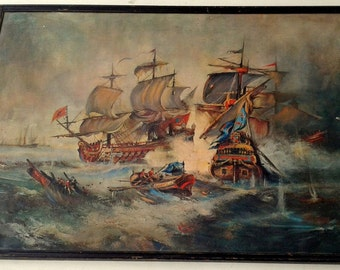 naval battleships by g. chiabert print on  large size with frame