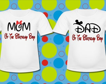 Family Two Pack Minnie Mouse and Mickey Mouse T shirt Mom Dad of the Birthday Boy Pick two shirt sizes and sayings