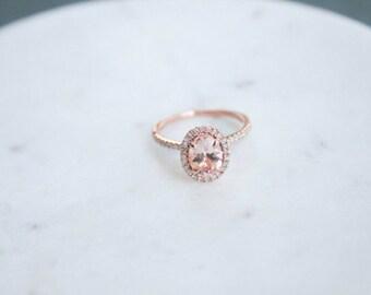 2 Carat Morganite Ring, Diamond Halo Rose Gold Morganite Engagement Ring, Rose Gold Morganite Ring, Diamond Halo around Morganite
