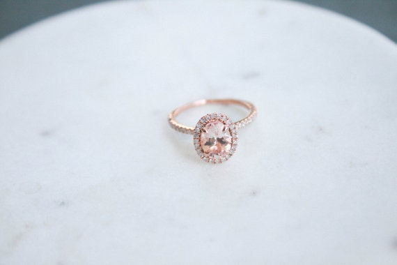 2 Carat Morganite Ring Diamond Halo Rose by OliveAvenueJewelry