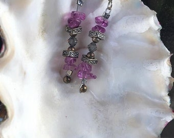 Handmade Genuine Purple Amethyst FireStone Bali Silver Smokey Quartz Crystal Drop dangle Beaded Earrings Jewelry
