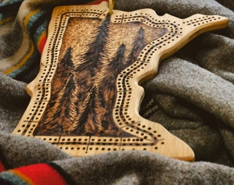 Woodburned Minnesota Cribbage Board | made to order, custom, handmade, pine trees, bamboo, outdoors, cabin