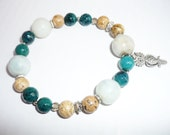 HANDMADE BEADED BRACELET with gemstones agate,picture jasper,amazonite and owl pendant.