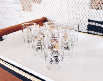 Hazel Atlas Black Gold Carriage Drinking Glasses, Libbey Stagecoach Carriage Glasses, Retro Drinking Glasses, Juice Glasses, Set of 7