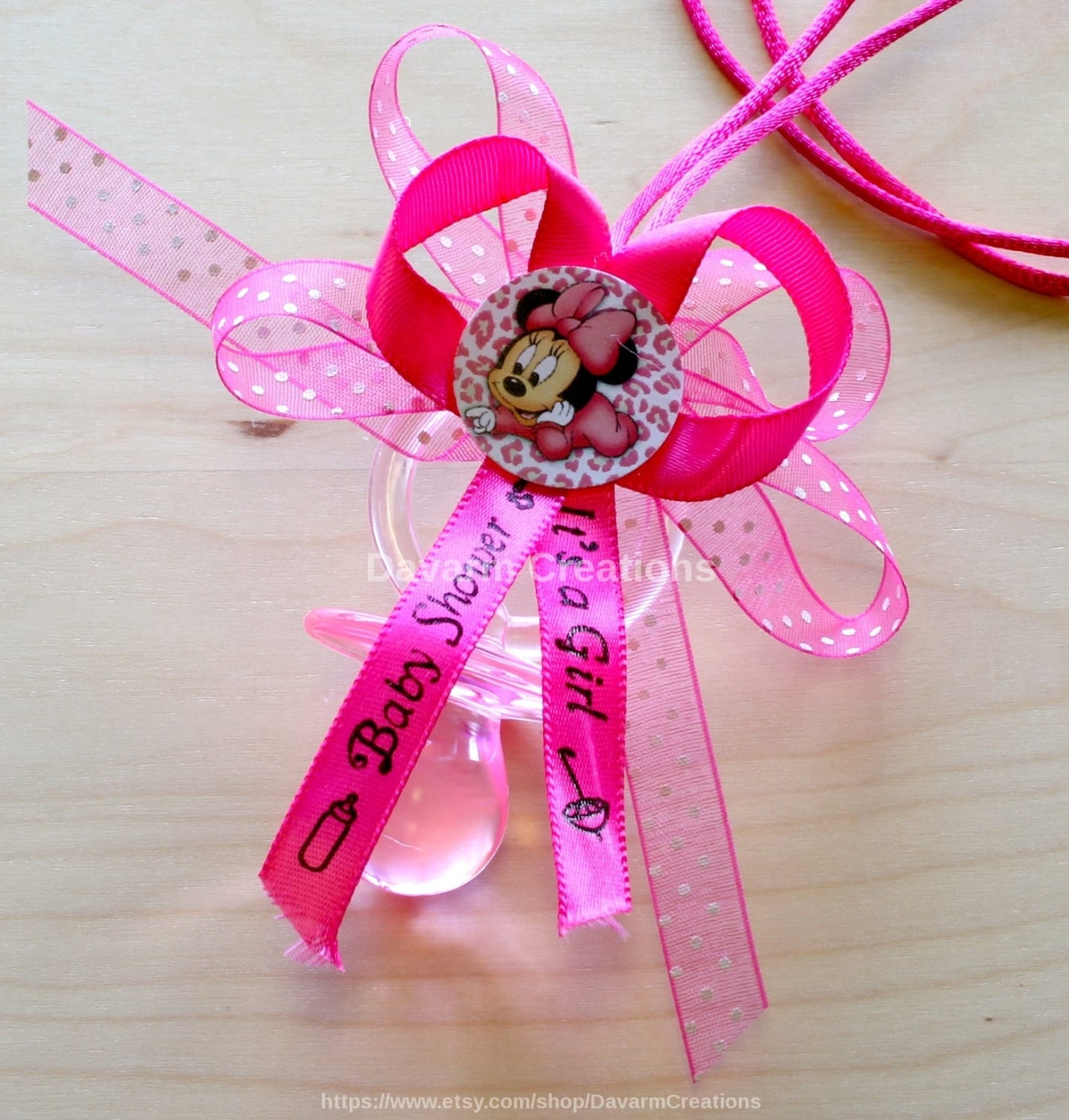 Minnie Mouse Baby Shower Party Favors: Minnie Mouse Baby Shower Necklace Favors Dozen/Minnie Mouse