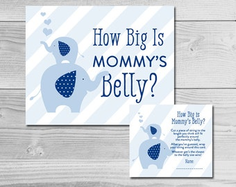 Mommy and Baby Blue Elephant Baby Shower Game - How Big is Mommy's Belly? - Instant Download Printable - Baby Boy