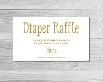 White Gold Glitter Baby Shower Inserts - Diaper Raffle Tickets - Instant Download Printable - Gender Neutral