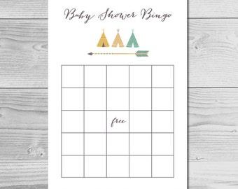 Tribal Baby Shower Bingo - Instant Download Printable - Baby Boy