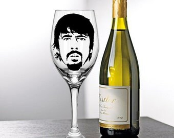 Dave Grohl, Foo Fighters,  Painted Wine Glasses, Painted Wine Glass, Hand Painted Wine Glasses, Painted Glasses, White Wine, Red Wine Glass