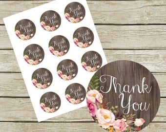 """Thank You Tags Printable. 2"""" Round Tags. Instant Download. Rustic Thank You Tags. Thank You Tags for Wedding. Thank you Labels."""