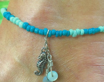 Seahorse Anklet, Anklet,  Beach Anklet, Ankle Bracelet, Silver Seahorse Anklet, Charm Anklet, Gift Anklet, Beach Jewelry,  Jewelry