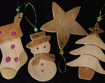 4 Wooden Christmas Tree Decorations