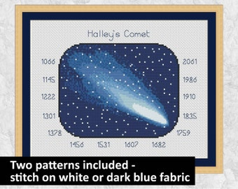 Astronomy cross stitch pattern, printable PDF space chart, stars, night sky, Halley's comet, solar system, physics, science teacher gift