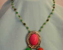 Bright Colors Pendant on Seed Beads String, Vintage Necklace