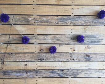 Yarn Pom Pom Garland: Purple