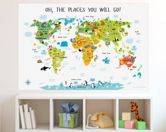 Travel Theme Nursery, World Map Poster, Kids World Map, Travel Inspired Nursery, Playroom Decor, Birthday Gift, Map of The World