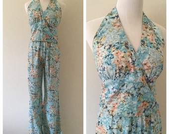 Vintage 1970s Two-Piece Halter Top Pant Suit / Floral Print Halter Top with Wide-Leg Pants