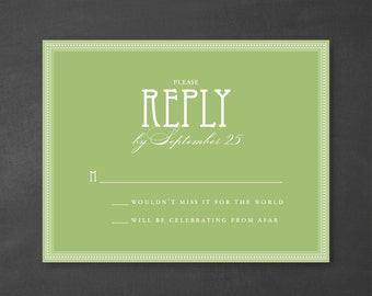 Customizable Typography Art Deco Wedding Reply Card {DIGITAL DOWNLOAD}