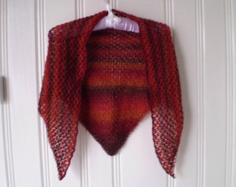 Hand Knitted Shawl - Shades of Orange